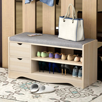 Shoes Cabinet Entrance Shoe Stool Bench Multi function Living Room Shelf Storage Double layer Shoes Rack with Drawer