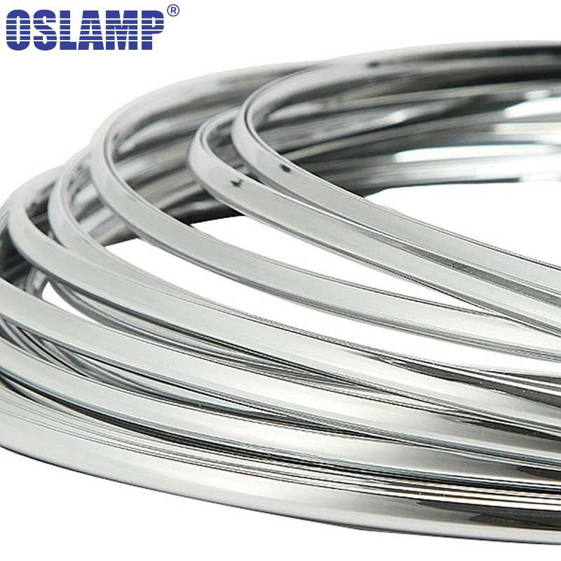 Oslamp 3 Meters Chrome Trim Car Styling Grill Strips Molding Decoration Bumper Impact Adhesive Grille Protection Strip Scratch