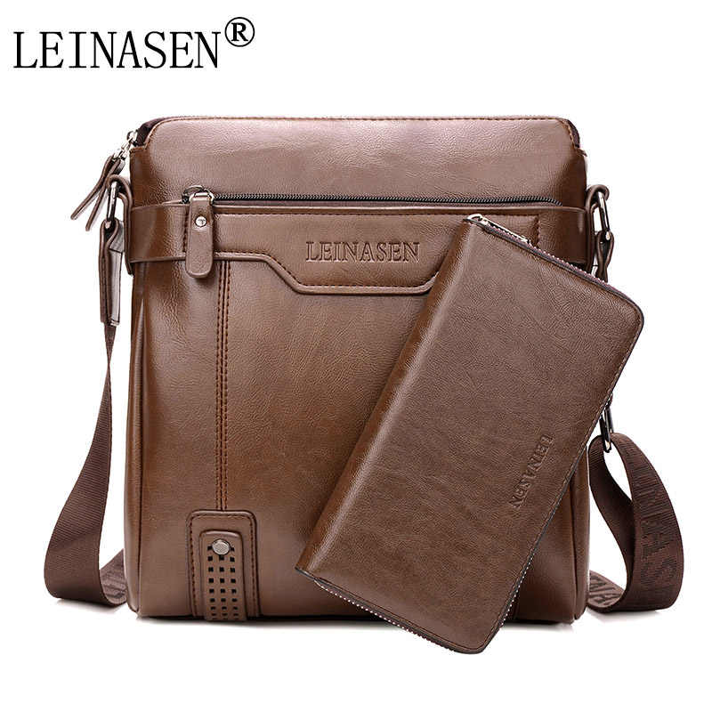 LEINASEN Brand 2019 casual Men Messenger Bags Crossbody Bags Men's Shoulder Bag Hot Selling High Quality pu business Briefcase
