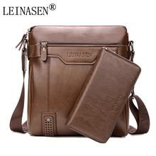 LEINASEN Brand 2017 casual Men Messenger Bags Crossbody Bags Men's Shoulder Bag Hot Selling High Quality pu business Briefcase