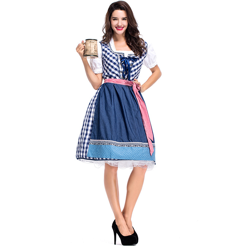 Cotton Grid Women's Oktoberfest Sweetie Inga Long Dress Costume for Bavarian Tradition Beer Waitress Maid Costumes Plus Size