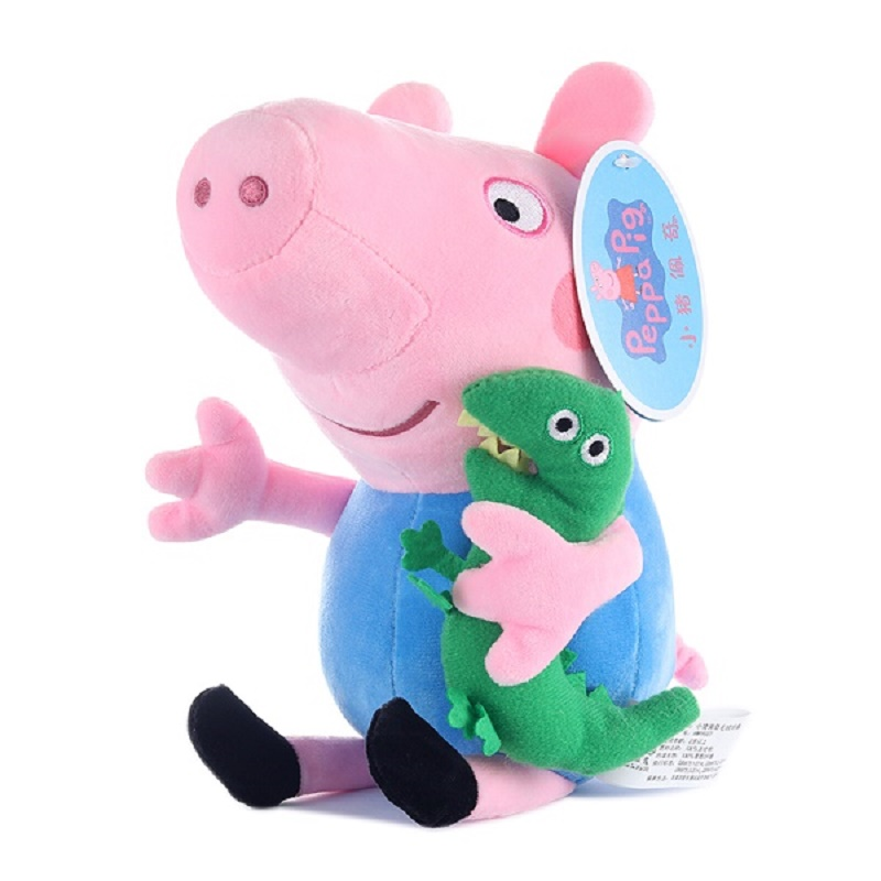 Peppa pig George pepa Pig Family Plush Toys 19cm Stuffed Doll & peppa pig bag Party decorations SchoolbagToys For Children 3
