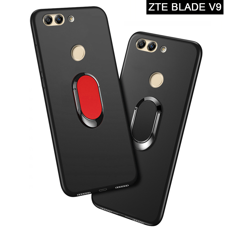 ZTE Blade V9 Case luxury 5.7 inch Soft Black Silicone Magnetic Car Holder Ring Cover for ZTE Blade V9 Vita Phone Cases 5.45 inch