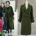 2016 Novo Casaco Verde Jaqueta de Inverno Mulheres Trench Coat Para O Inverno Longo Casaco Com Cinto de Casaco De Lã Outwear S-XXL TS1906
