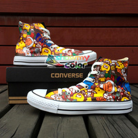 Hand Painted Shoes Men Women Converse Chuck Taylor Brand Athletic Sneakers Design Cartoon Monkey Kinds of Animals