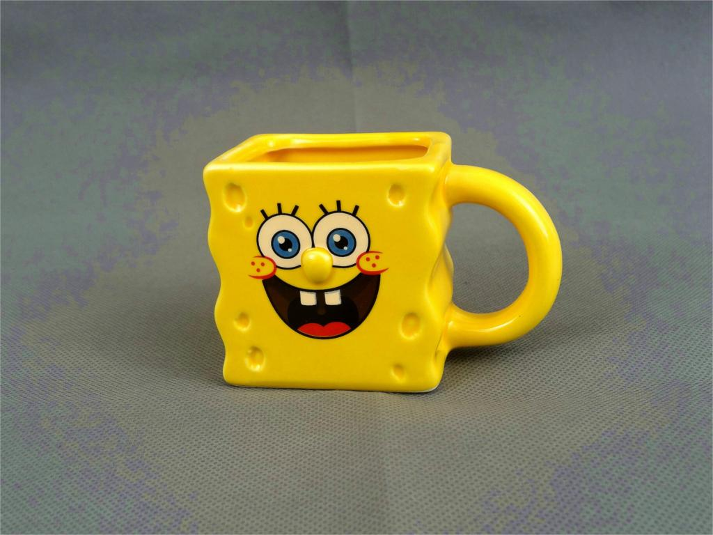 2016 new hot SpongeBob cartoon ceramic tea cup pudding ice cream cup Lovely Home Supplies free shipping taza de m&m