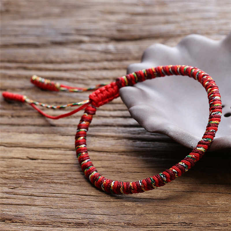 Chinese Lucky Red String Bracelet Men Women Tibetan Buddha