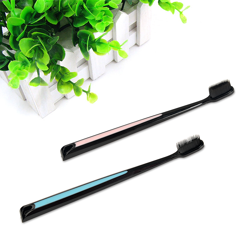 2Pcs Nano Bamboo Charcoal Toothbrush Double Ultra Soft Tooth Brush Tongue Cleaner Black Heads Nano-antibacterial Toothbrush 1
