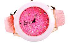 Famosa Marca de Moda de Calidad Del Hight De Diamante Genuino Señoras Correa de Cuero Relojes de Lujo Vestido de la Mujer De Cerámica Dial Grande Relojes Relogio