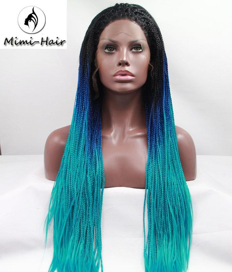 Natural Ombre Blue Straight Braided Synthetic Lace Front