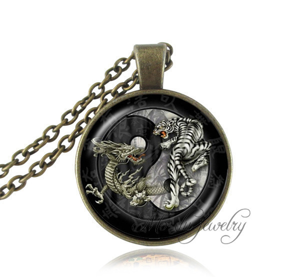 Buy yin yang pendant necklace dragon tiger picture cross jewelry antique bronze animal necklaces glass cabochon pendants ying yang for $2.54 in AliExpress store