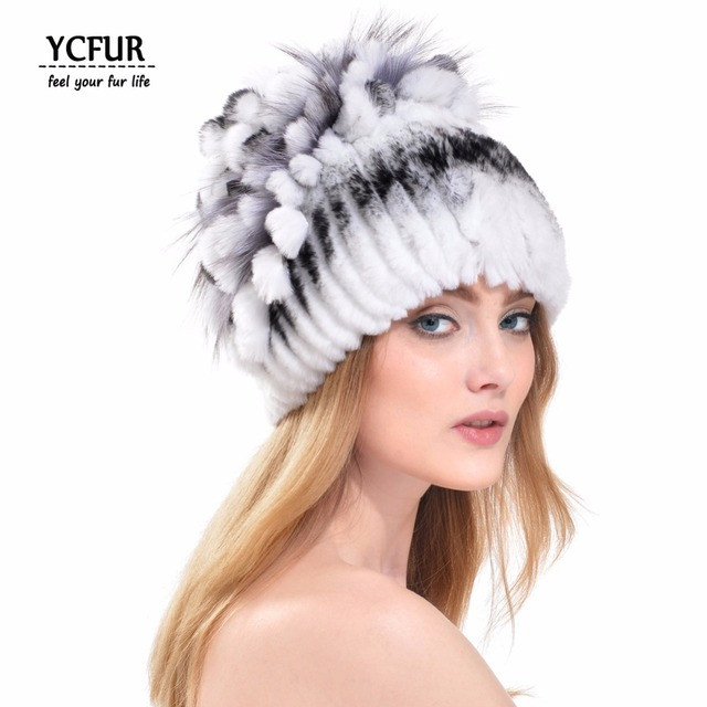 YCFUR Winter Women Hats Warm 3 Colors Stripes Real Rex Rabbit Fur Caps With Real Fur Trims Top Natural Fur Beanies Hats