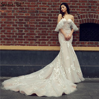 2017 New Fashion Sexy Mermaid Wedding Dresses Short Sleeve Appliques Elegant Bridal Gown Vestido De Noiva