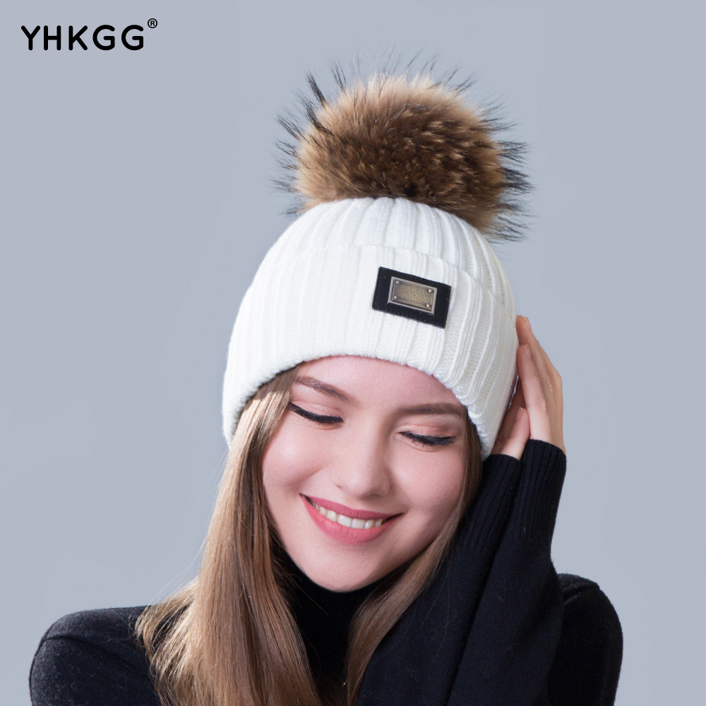 2017 new knitted hat fashion Women big Real Raccoon Fur pom pom Caps Crochet Hats For