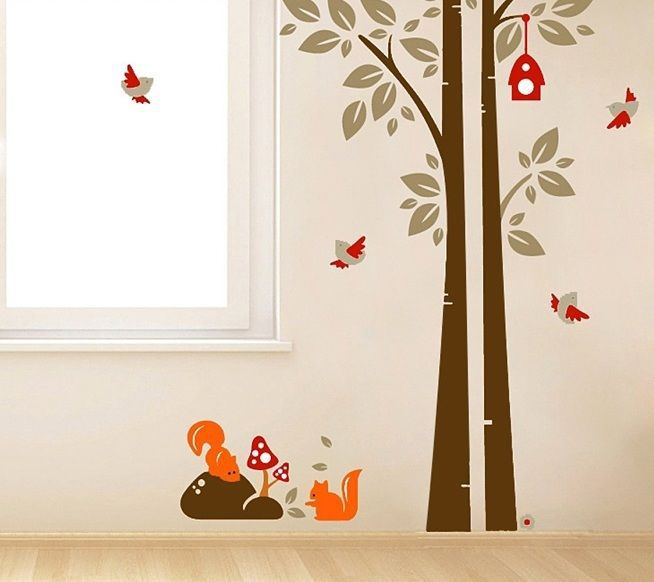 Drop ship Acceptable Tree Bird & Squirrel Removable Wall Animal Sticker Kids Room Nursery 90cm x 60cm