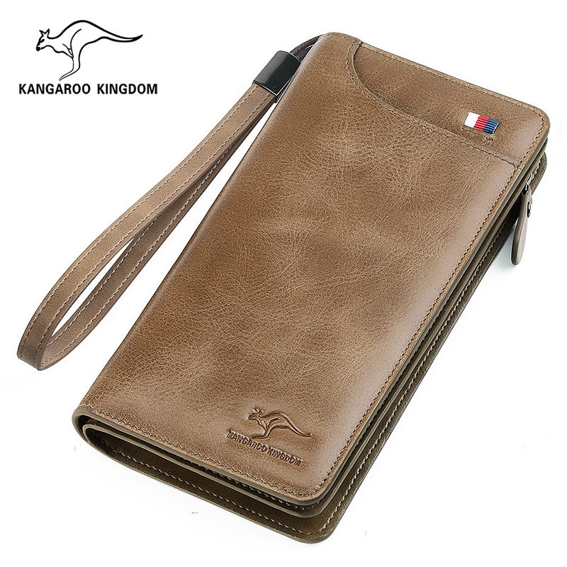 KANGAROO KINGDOM vintage men wallets genuine leather long zipper clutch purse casual men card holder wallet