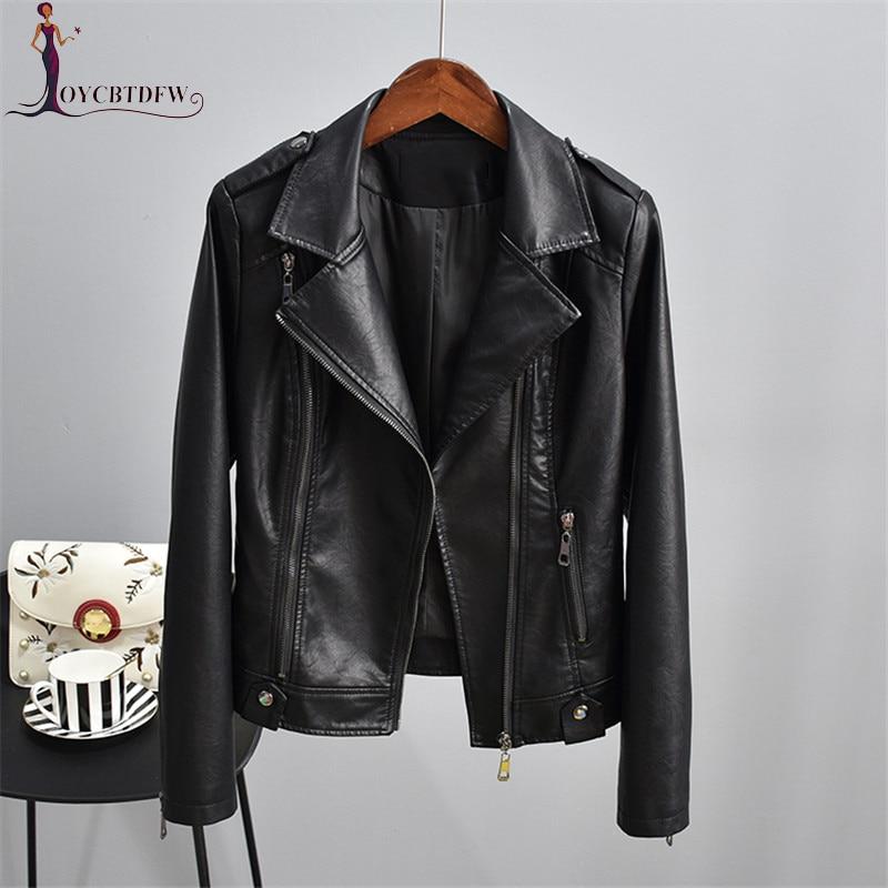 Été femmes grande taille M-3xl moto cuir synthétique polyuréthane noir veste 2018 automne nouveau mode revers décontracté Pu cuir manteau Xy270