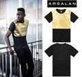 Арсалан 2016 новое прибытие золото качества блестящий человек моде футболки свободные мужские хип-хоп футболки пу лоскутные мужчины кожа т рубашка