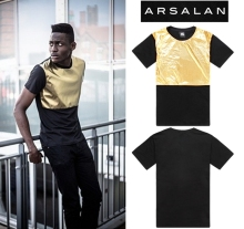 Arsalan 2016 new arrival gold quality shiny man fashion t-shirt loose mens hiphop t shirts pu patchwork men leather t shirt
