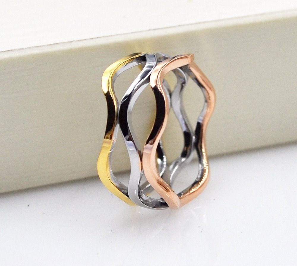 YUN RUO Brand Fashion Gold Silver Color Wave Ring 316L Titanium Steel Fine Jewelry Woman Christmas Gift Wholesale Free Shipping