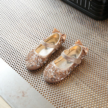 Gold Girls Kids Children's Rhinestones leather Princess Sandals dance Wedding Dress Shoes Party Shoes for girls 35