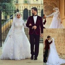 Hijab Muslim Bridal Wedding Dress Lace Appliques Detachable Train Long Sleeve Winter Wedding Dresses 2016