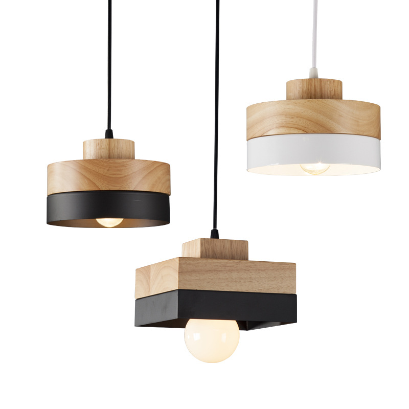 ФОТО On Sale Nordic Creative Simple Solid Wood Aluminum Led E27 Pendant Light For Dining Room Living Room Bar Deco Ac 80-265v 1155