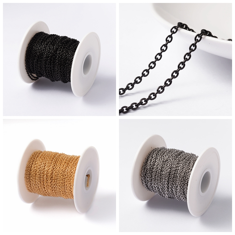 304 Stainless Steel Cross Necklace Bracelet Jewelry Making DIY Link Chains, 3x2x0.6mm; about 20m/roll