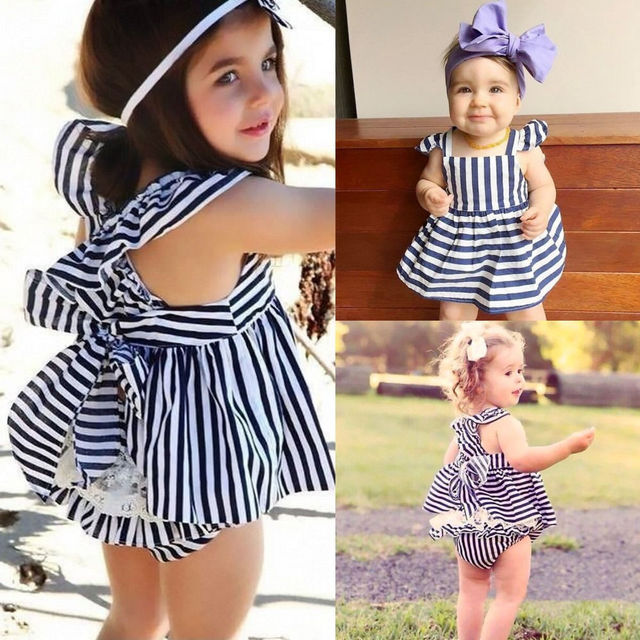 a7381b9e35f32 Hot Sale Newborn Infat Baby Girls Clothes Summer Sunsuit Outfit Stripe  Backless Dress Briefs Set