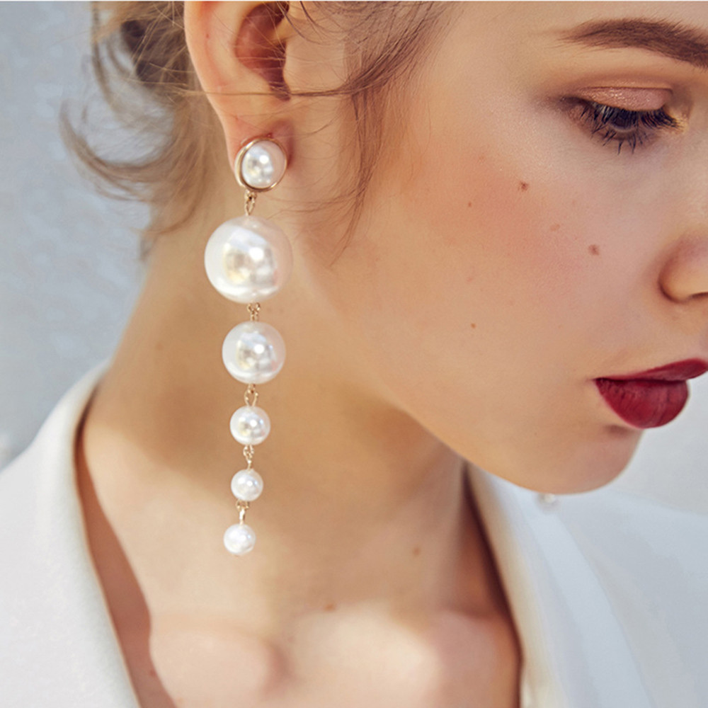 Fashion Charm Big Simulated Pearl Long Earrings Women Statement Drop Earrings For Wedding Party Office Lady Gift Brincos #35
