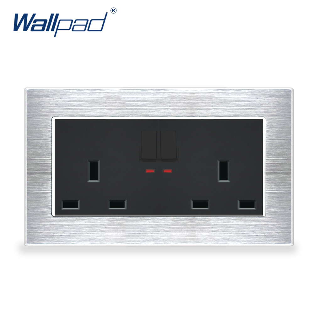 New Arrival 2 Gang 6 Pin UK Socket With Switches Wallpad Luxury Wall Light Switch Satin Metal Panel 146 Wall Power Outlet цена и фото