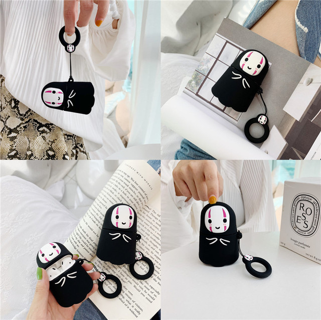 For AirPods Case No Face Man Protective Cover Wireless Earphone Case For Air pods 2 Headphone case with Finger Ring Strap cover