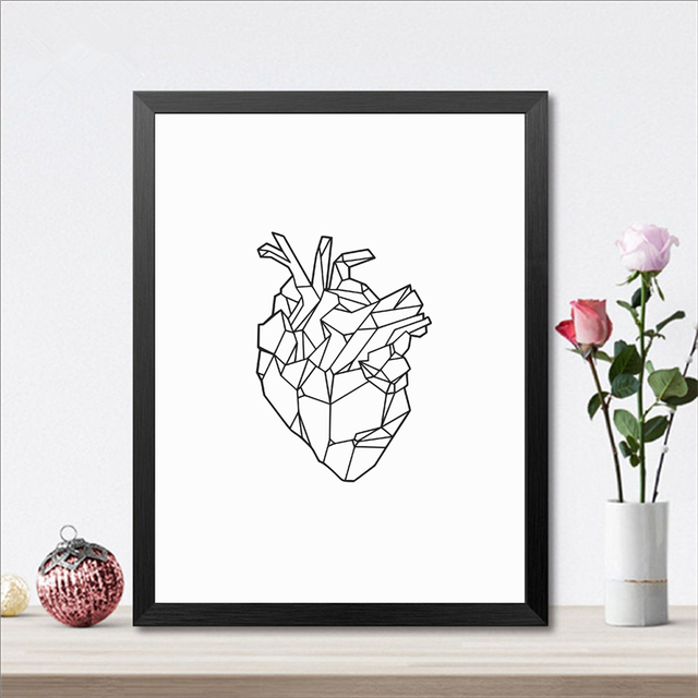 Geometric Heart Art Poster Print Wall Art Medicine Anatomy Heart 1