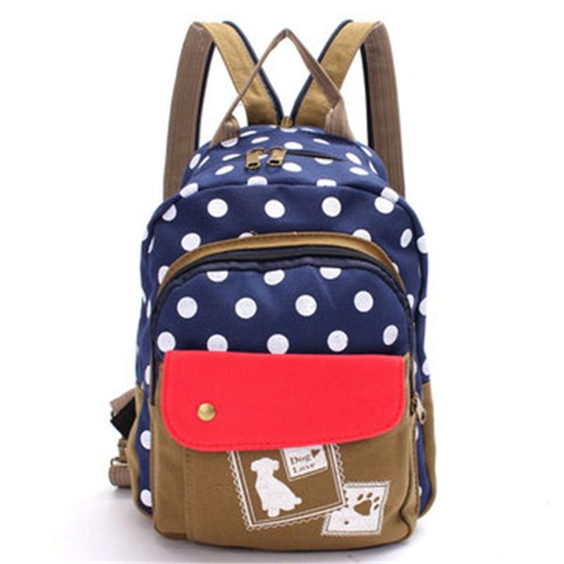 2016 Korean Style Designed Brand Canvas Backpack Schoolbag Student Shoulder Bag Polka Dog Dot Travel Backpack