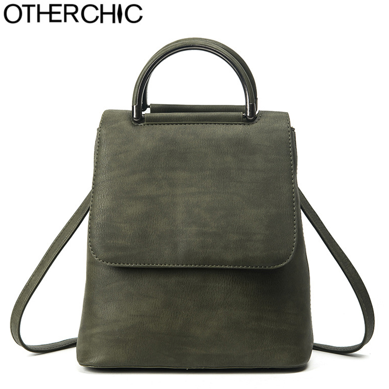 OTHERCHIC New Designer Vintage Matte Backpack Leather Top Handle Women Backpack High Quality Girls School Bag
