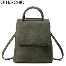 Otherchic новые дизайнерские винтажные матовый рюкзак кожаный ручка сверху женщины рюкзак высокое качество для девочек школьная сумка backbag L-7N08-08