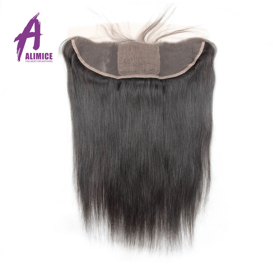 ALIMICE Hair Brazilian Straight 13x4 Ear To Ear Silk Base Frontal Pre Plucked Lace Frontal Remy Human Hair Frontal 12-24Inch