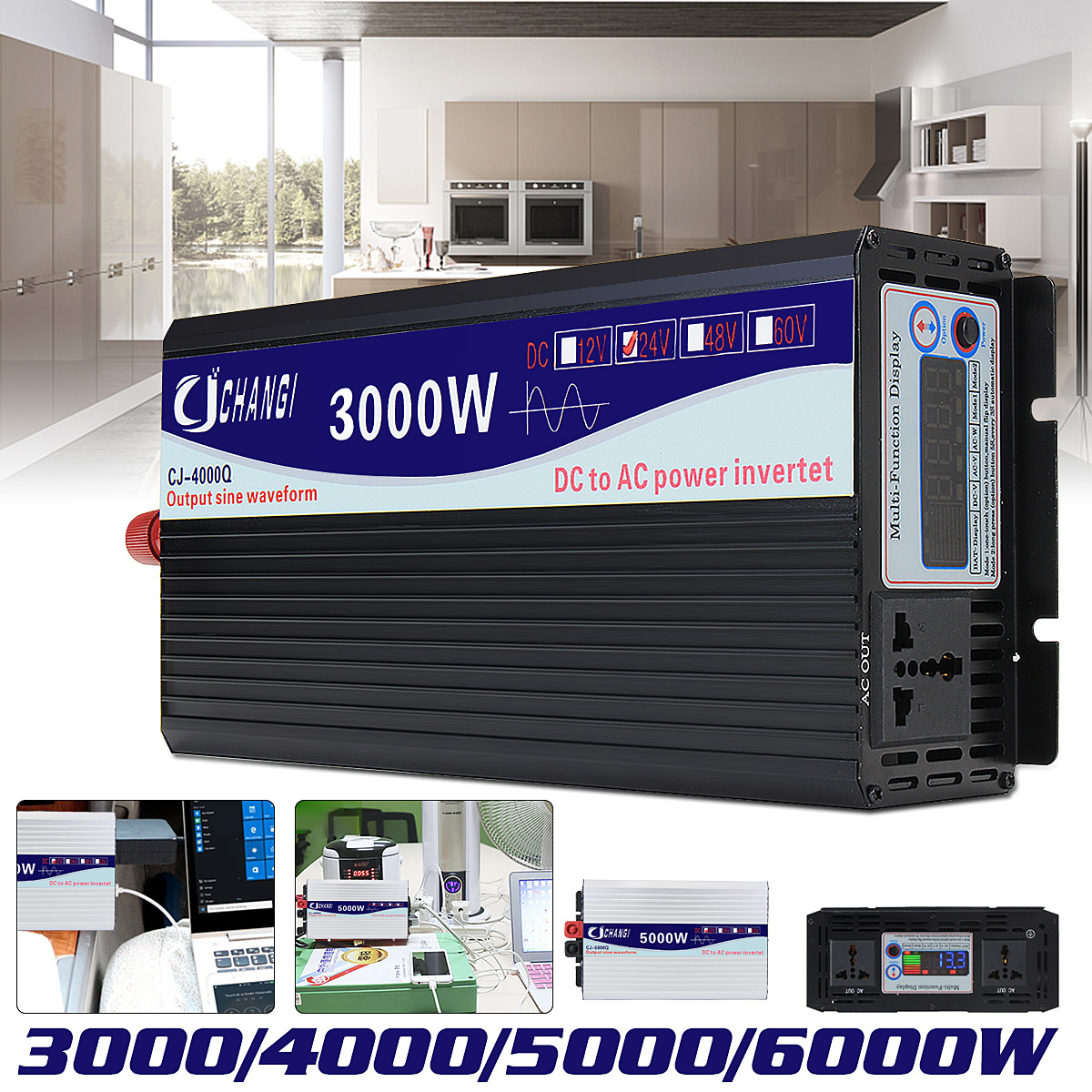 3000/4000/5000/6000 w Portatile 24 v a AC 220 v Solar Power Inverter Sinusoidale Pura onda Convertitore Adattatore Schermo LCD 93% di Conversione