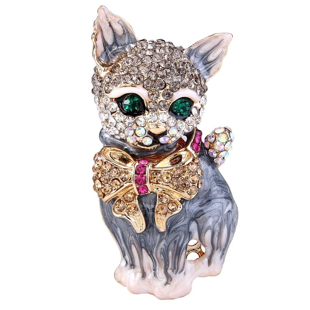 BELLA 4 Colors Hot Cartoon Cat Pet Animal Rhinestone Brooch Pin Enamel Brooches Wholesale Women Jewelry