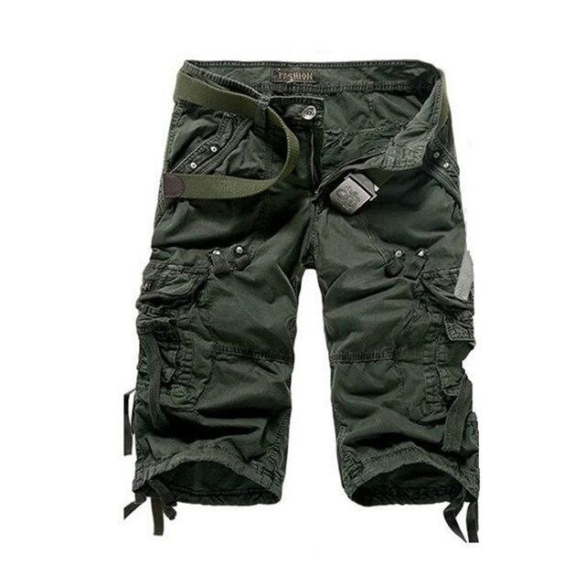 036850d96a66 2016 New Mens Summer Army Cargo 3 4 Three Quarter Pants Cotton Multi  Pockets Military Tactical Camo Casual Men Jogger Short