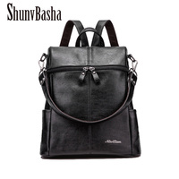 2016 Multifunctional Bag Women Backpack High Quality PU Leather Bucket Type Shoulder Bag Big Travel Backpacks