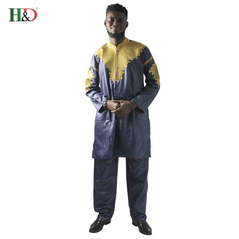 H&D African mens clothing traditional zipper riche africano hombres camisa con pantalones bordado camiseta pantalones dashiki
