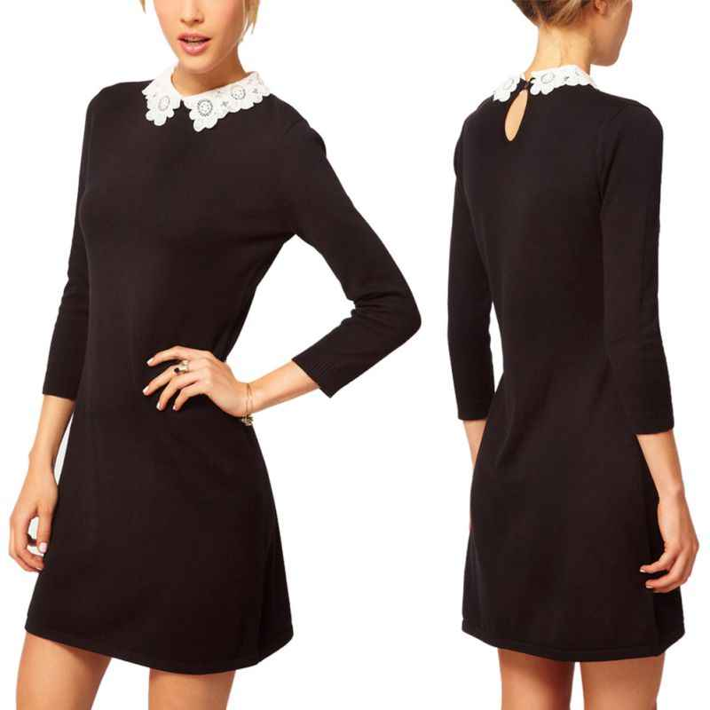 0cf436c38 ... Women Girls Sleeve Silm Dress Lady Black With White Lace Collar Knit  Mini Dresses ...