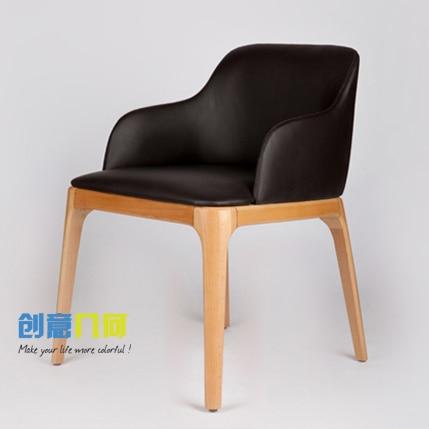Poltrona in legno massello sedia schienale in pelle casual - Camera da pranzo in inglese ...