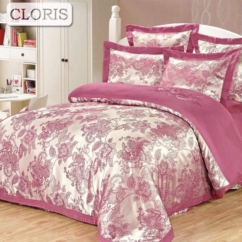 CLORIS 6Pcs Flowers Cotton Bed Line Comforter Bedspread Bedding Kit Size Home Textile Flowers Sheet Pillowcases Duvet Cover Set