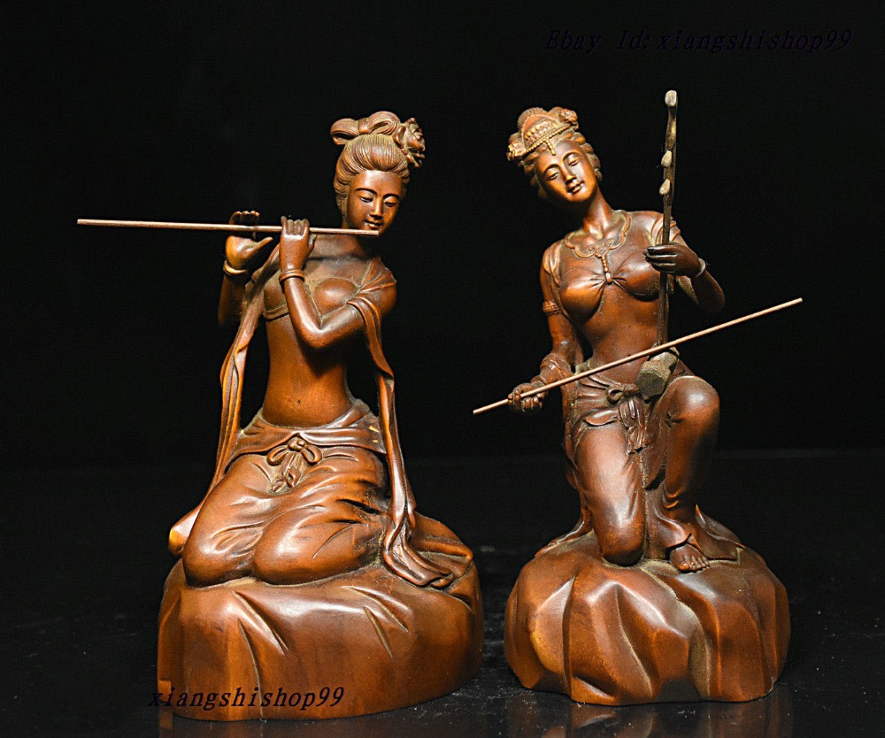 wedding decoration Chinese Boxwood Wood Carved play music Classic beauty Woman Belle Statue Pair