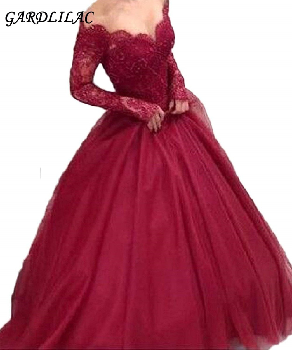 Burgundy Long   Prom     Dress   2018 Off The Shoulder Ball Gown Tulle Lace Appliques Sweet 16   Dresses   Wedding Party   dresses   G061