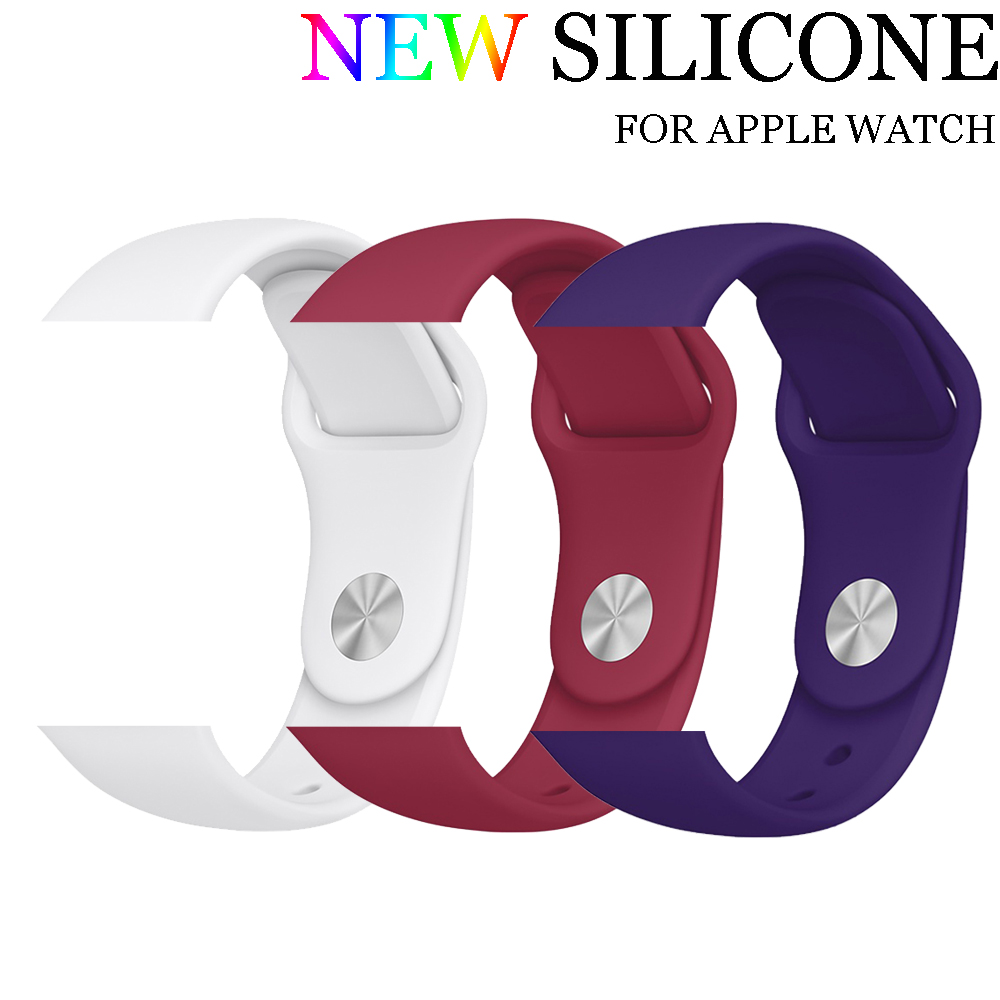 Sport Silicone band strap For Apple Watch series 3/2/1 42mm 38mm Rubber bracelet wrist watchband for Iwatch watch accessories bumvor sport silicone band strap for apple watch 42mm 38mm bracelet wrist band watch watchband for iwatch 3 2 1 box