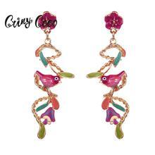 цена на Long Tassel Gold Statement Dangle Earrings for Women Lady 2019 New Design Alloy Colorful Bird Leaf Jewelry Woman Drop Earring