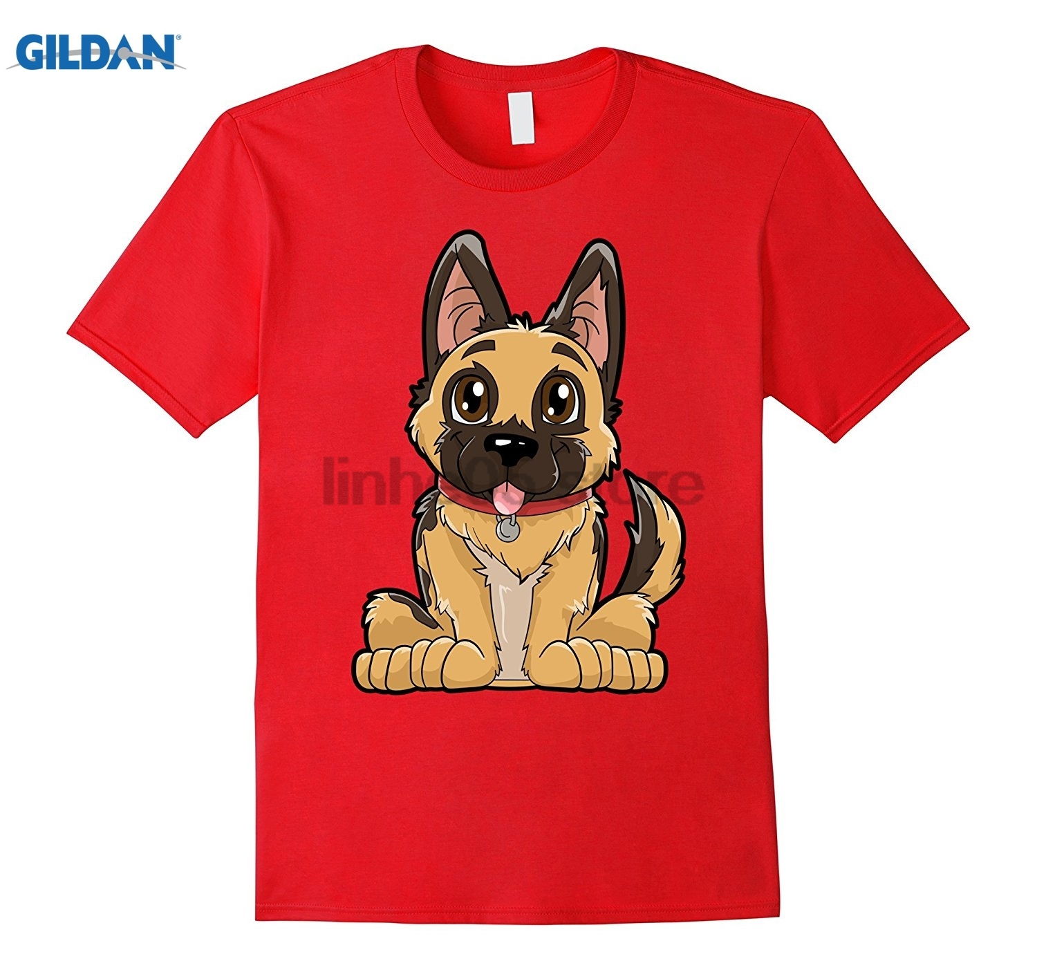 GILDAN German Shepherd Cute Puppy T Shirt Funny Dog Puppies Gift Dress female T-shirt